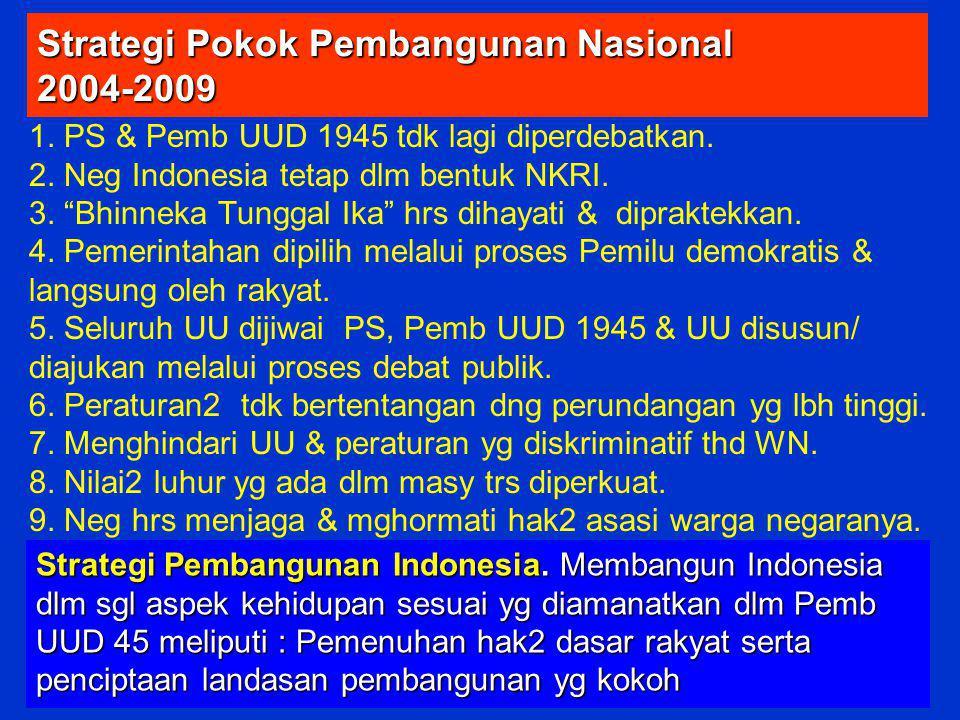 "Strategi Pokok Pembangunan Nasional 2004-2009 1. PS & Pemb UUD 1945 tdk lagi diperdebatkan. 2. Neg Indonesia tetap dlm bentuk NKRI. 3. ""Bhinneka Tungg"