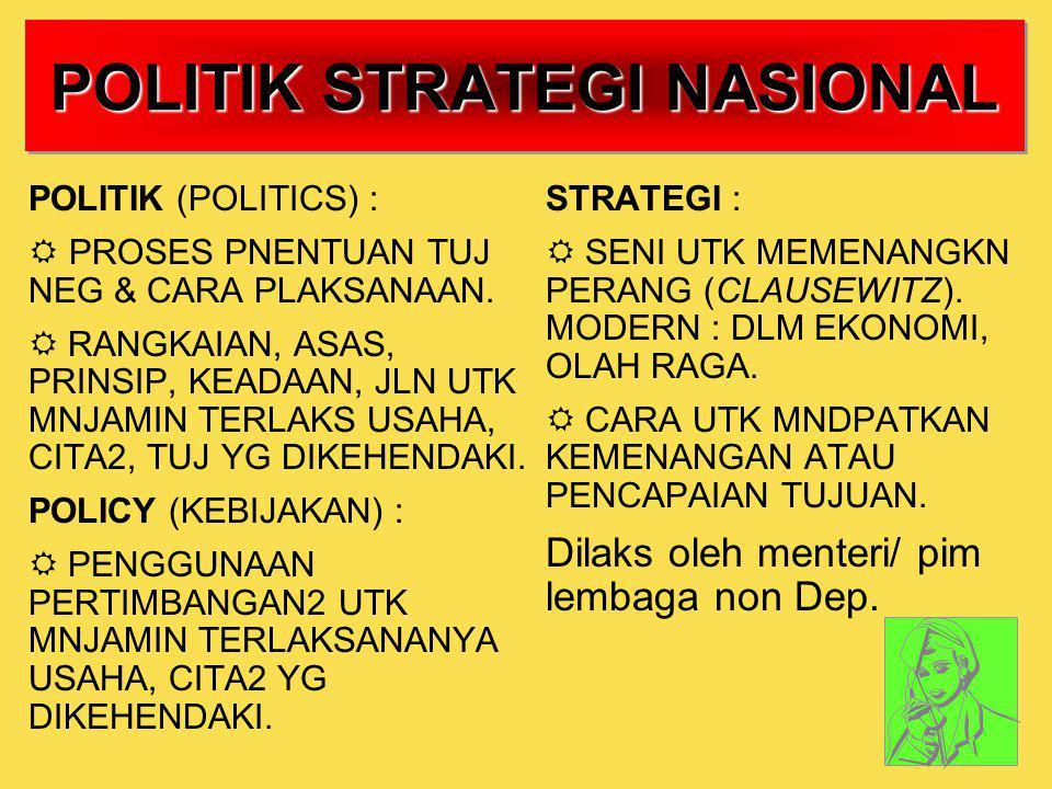 POLITIK STRATEGI NASIONAL POLITIK (POLITICS) :  PROSES PNENTUAN TUJ NEG & CARA PLAKSANAAN.  RANGKAIAN, ASAS, PRINSIP, KEADAAN, JLN UTK MNJAMIN TERLA