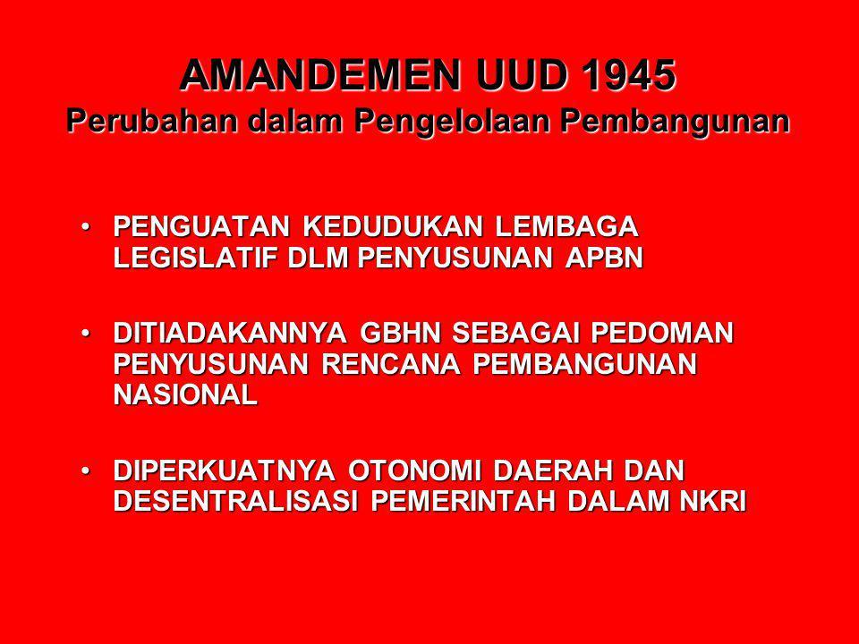 AMANDEMEN UUD 1945 Perubahan dalam Pengelolaan Pembangunan PENGUATAN KEDUDUKAN LEMBAGA LEGISLATIF DLM PENYUSUNAN APBNPENGUATAN KEDUDUKAN LEMBAGA LEGIS