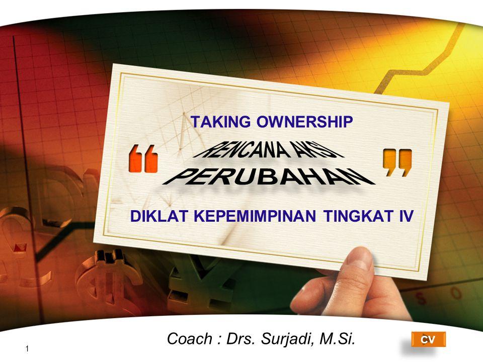 LOGO DIKLAT KEPEMIMPINAN TINGKAT IV 1 CV Coach : Drs. Surjadi, M.Si. TAKING OWNERSHIP