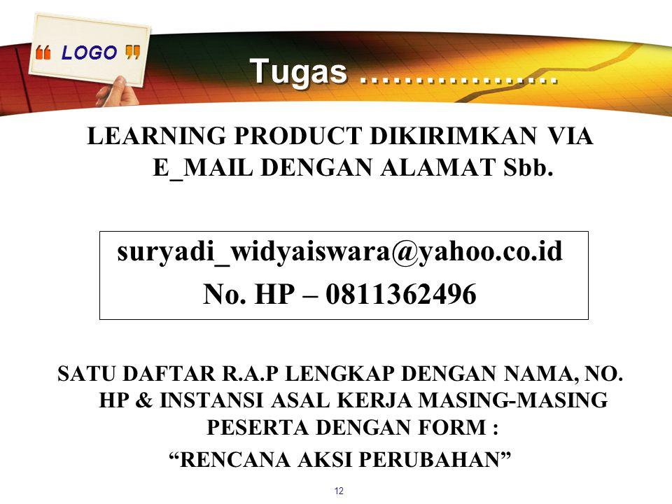 LOGO Tugas ……………… LEARNING PRODUCT DIKIRIMKAN VIA E_MAIL DENGAN ALAMAT Sbb. suryadi_widyaiswara@yahoo.co.id No. HP – 0811362496 SATU DAFTAR R.A.P LENG