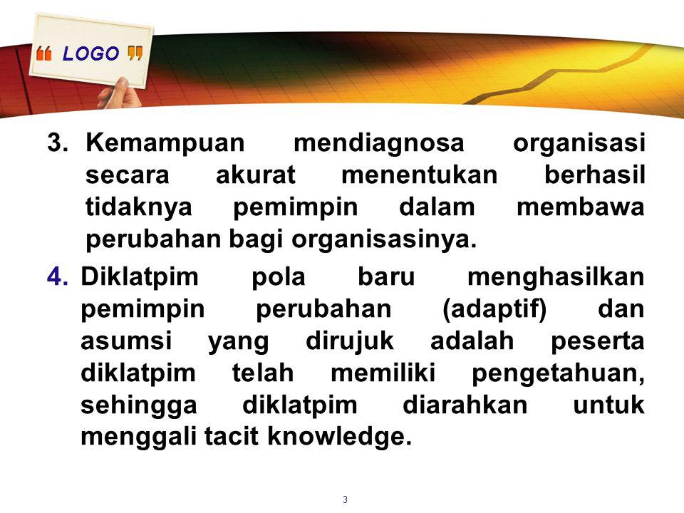LOGO 5.Diklatpim lebih menekankan pada keterampilan memimpin dari pada memberikan pengetahuan tentang teori dan instrumen.