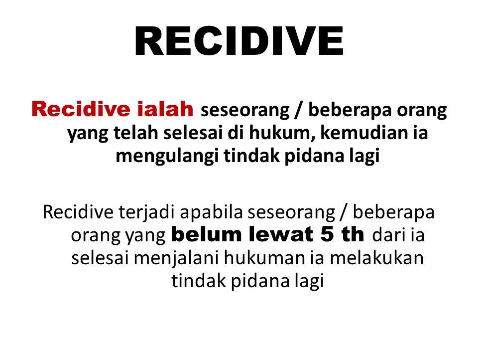 RECIDIVE Recidive ialah seseorang / beberapa orang yang telah selesai di hukum, kemudian ia mengulangi tindak pidana lagi Recidive terjadi apabila ses
