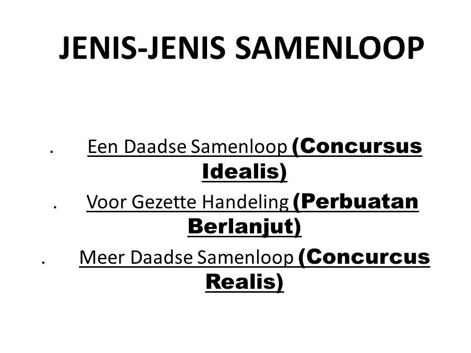 JENIS-JENIS SAMENLOOP. Een Daadse Samenloop (Concursus Idealis). Voor Gezette Handeling (Perbuatan Berlanjut). Meer Daadse Samenloop (Concurcus Realis