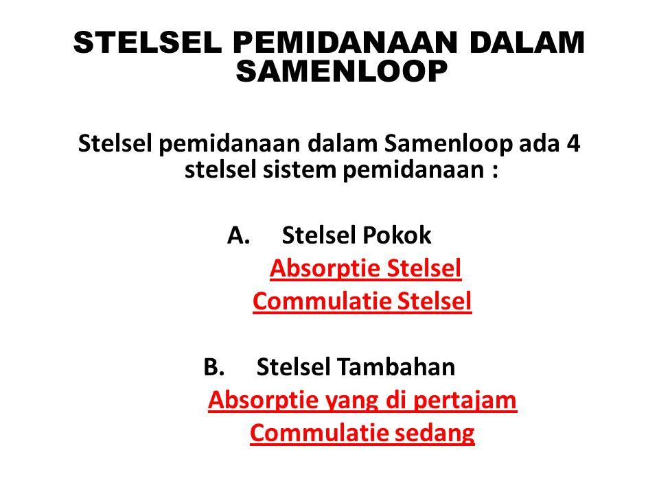 STELSEL PEMIDANAAN DALAM SAMENLOOP Stelsel pemidanaan dalam Samenloop ada 4 stelsel sistem pemidanaan : A. Stelsel Pokok Absorptie Stelsel Commulatie