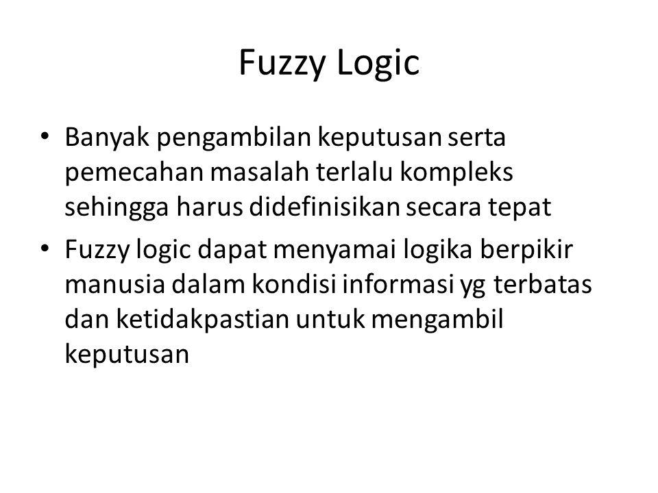 Fuzzy Logic Banyak pengambilan keputusan serta pemecahan masalah terlalu kompleks sehingga harus didefinisikan secara tepat Fuzzy logic dapat menyamai