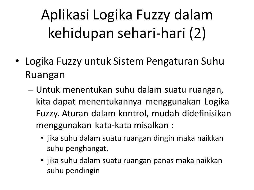 Aplikasi Logika Fuzzy dalam kehidupan sehari-hari (2) Logika Fuzzy untuk Sistem Pengaturan Suhu Ruangan – Untuk menentukan suhu dalam suatu ruangan, k