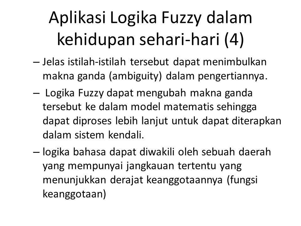 Aplikasi Logika Fuzzy dalam kehidupan sehari-hari (4) – Jelas istilah-istilah tersebut dapat menimbulkan makna ganda (ambiguity) dalam pengertiannya.