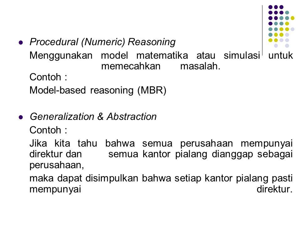 Procedural (Numeric) Reasoning Menggunakan model matematika atau simulasi untuk memecahkan masalah. Contoh : Model-based reasoning (MBR) Generalizatio