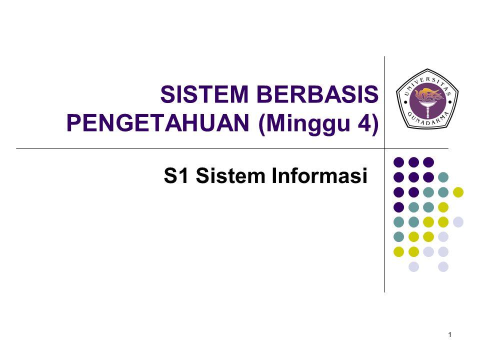 1 SISTEM BERBASIS PENGETAHUAN (Minggu 4) S1 Sistem Informasi