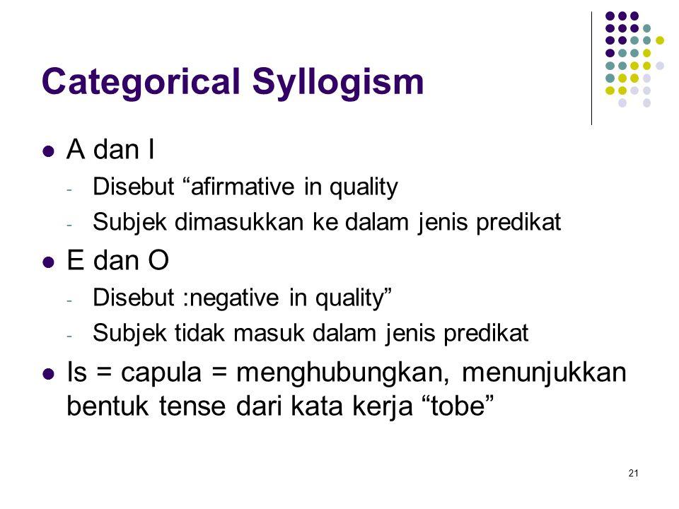 Categorical Syllogism A dan I - Disebut afirmative in quality - Subjek dimasukkan ke dalam jenis predikat E dan O - Disebut :negative in quality - Subjek tidak masuk dalam jenis predikat Is = capula = menghubungkan, menunjukkan bentuk tense dari kata kerja tobe 21