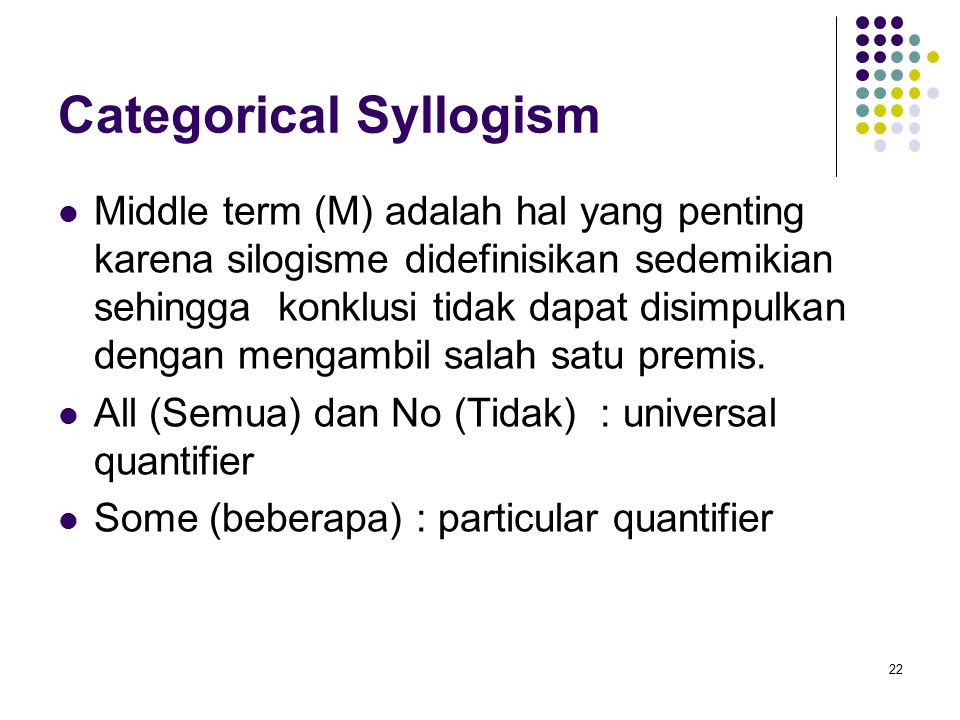 Categorical Syllogism Middle term (M) adalah hal yang penting karena silogisme didefinisikan sedemikian sehingga konklusi tidak dapat disimpulkan dengan mengambil salah satu premis.