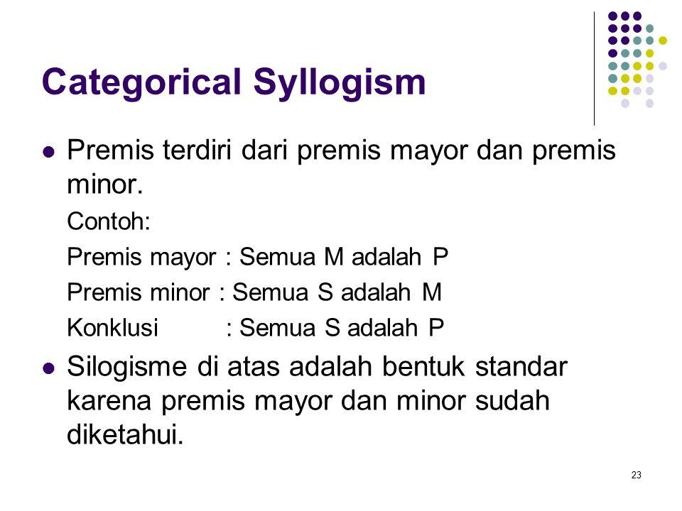 Categorical Syllogism Premis terdiri dari premis mayor dan premis minor. Contoh: Premis mayor : Semua M adalah P Premis minor : Semua S adalah M Konkl