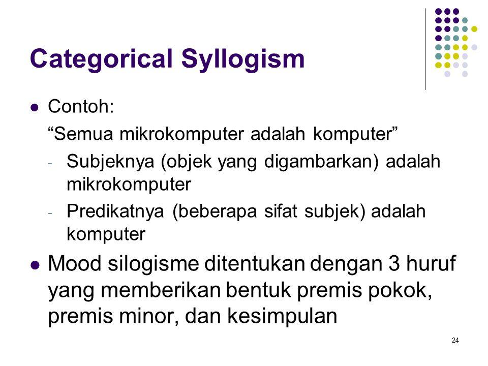 Categorical Syllogism Contoh: Semua mikrokomputer adalah komputer - Subjeknya (objek yang digambarkan) adalah mikrokomputer - Predikatnya (beberapa sifat subjek) adalah komputer Mood silogisme ditentukan dengan 3 huruf yang memberikan bentuk premis pokok, premis minor, dan kesimpulan 24