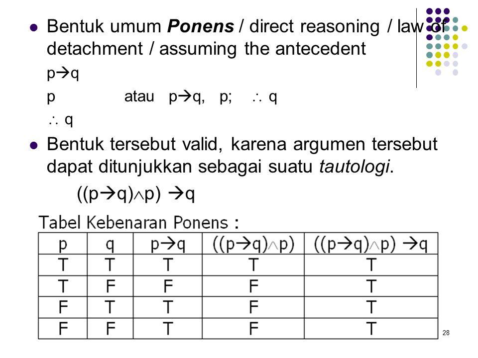 28 Bentuk umum Ponens / direct reasoning / law of detachment / assuming the antecedent p  q patau p  q, p;  q  q Bentuk tersebut valid, karena argumen tersebut dapat ditunjukkan sebagai suatu tautologi.