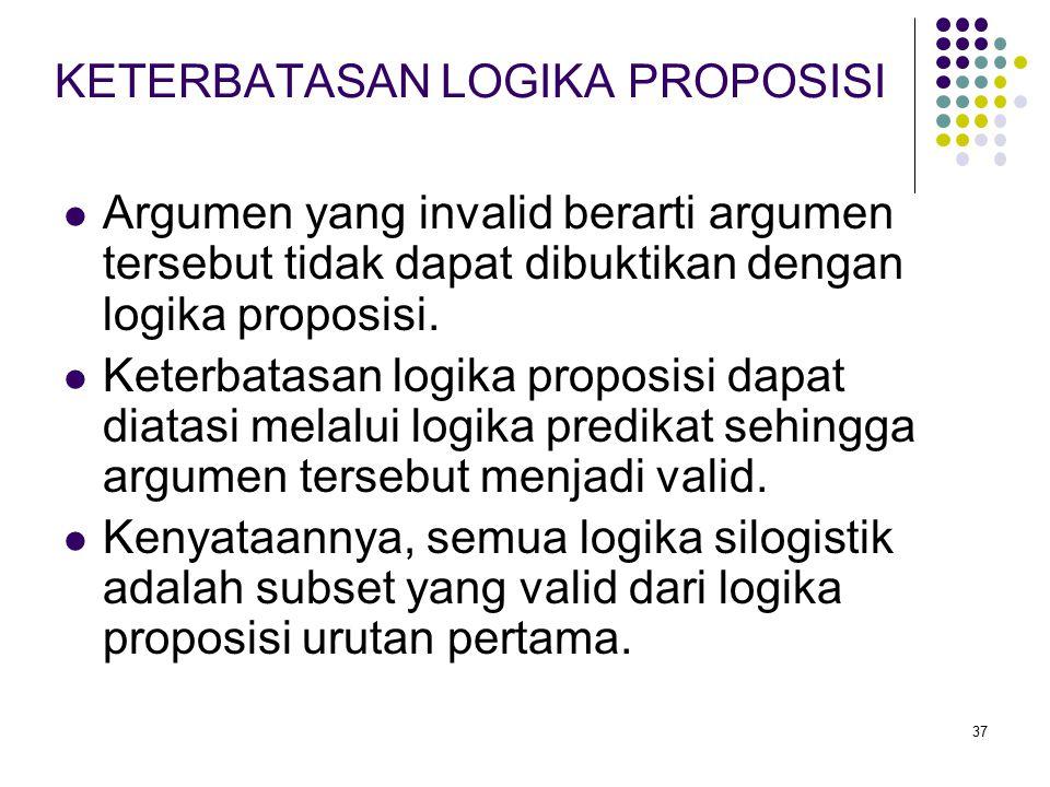 37 Argumen yang invalid berarti argumen tersebut tidak dapat dibuktikan dengan logika proposisi. Keterbatasan logika proposisi dapat diatasi melalui l