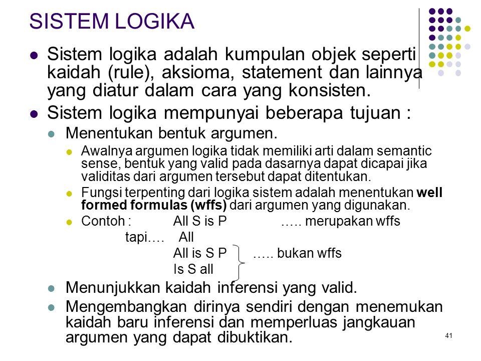 41 SISTEM LOGIKA Sistem logika adalah kumpulan objek seperti kaidah (rule), aksioma, statement dan lainnya yang diatur dalam cara yang konsisten.