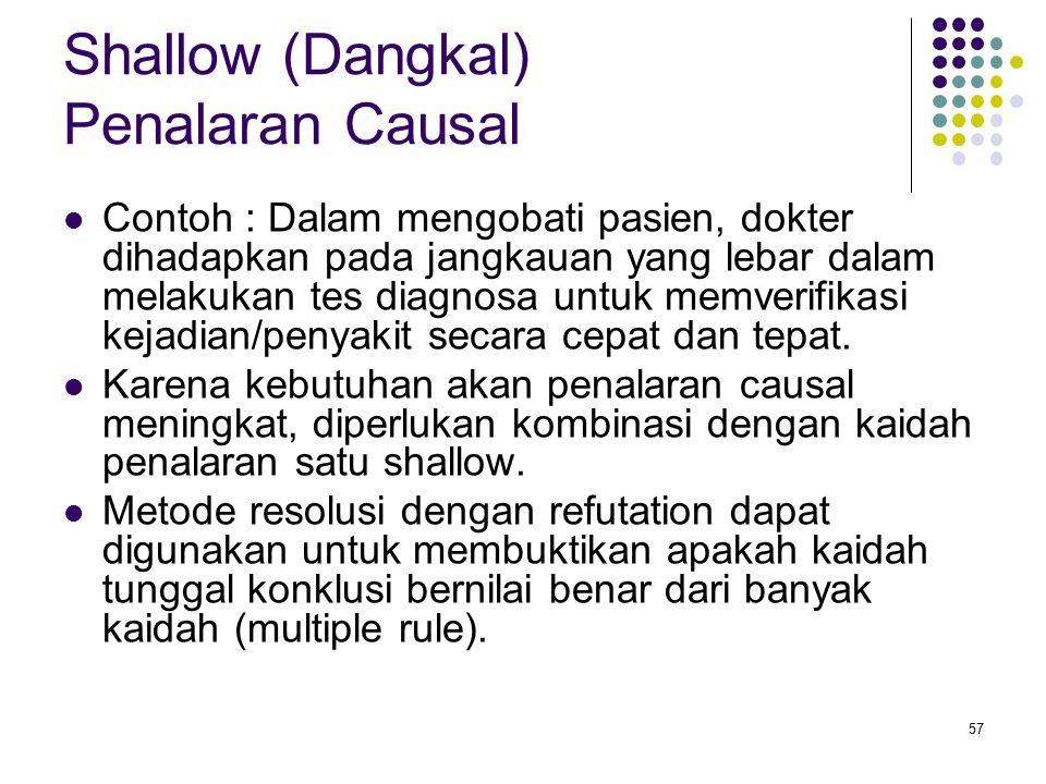 Shallow (Dangkal) Penalaran Causal Contoh : Dalam mengobati pasien, dokter dihadapkan pada jangkauan yang lebar dalam melakukan tes diagnosa untuk memverifikasi kejadian/penyakit secara cepat dan tepat.
