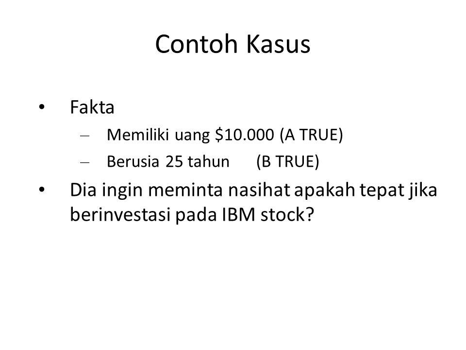 Contoh Kasus Fakta – Memiliki uang $10.000(A TRUE) – Berusia 25 tahun(B TRUE) Dia ingin meminta nasihat apakah tepat jika berinvestasi pada IBM stock?