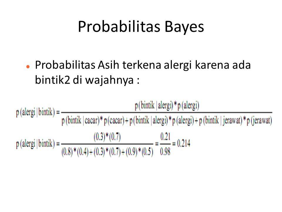 Probabilitas Bayes Probabilitas Asih terkena alergi karena ada bintik2 di wajahnya :