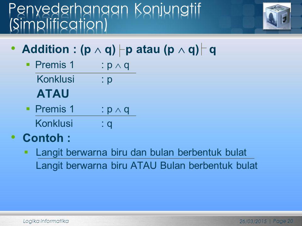 Addition : (p  q) p atau (p  q) q  Premis 1 : p  q Konklusi : p ATAU  Premis 1 : p  q Konklusi : q Contoh :  Langit berwarna biru dan bulan ber