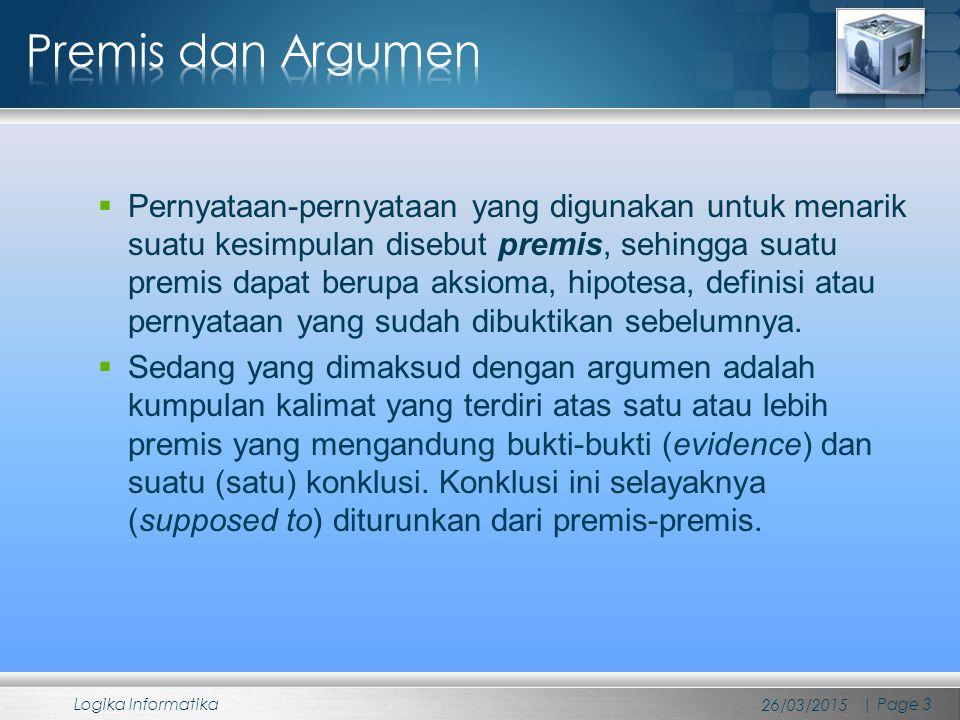  Konklusi selayaknya diturunkan dari premis-premis atau premis-premis selayaknya mengimplikasikan konklusi, dalam argumentasi yang valid, konklusi akan bernilai benar jika setiap premis yang digunakan di dalam argumen juga bernilai benar.