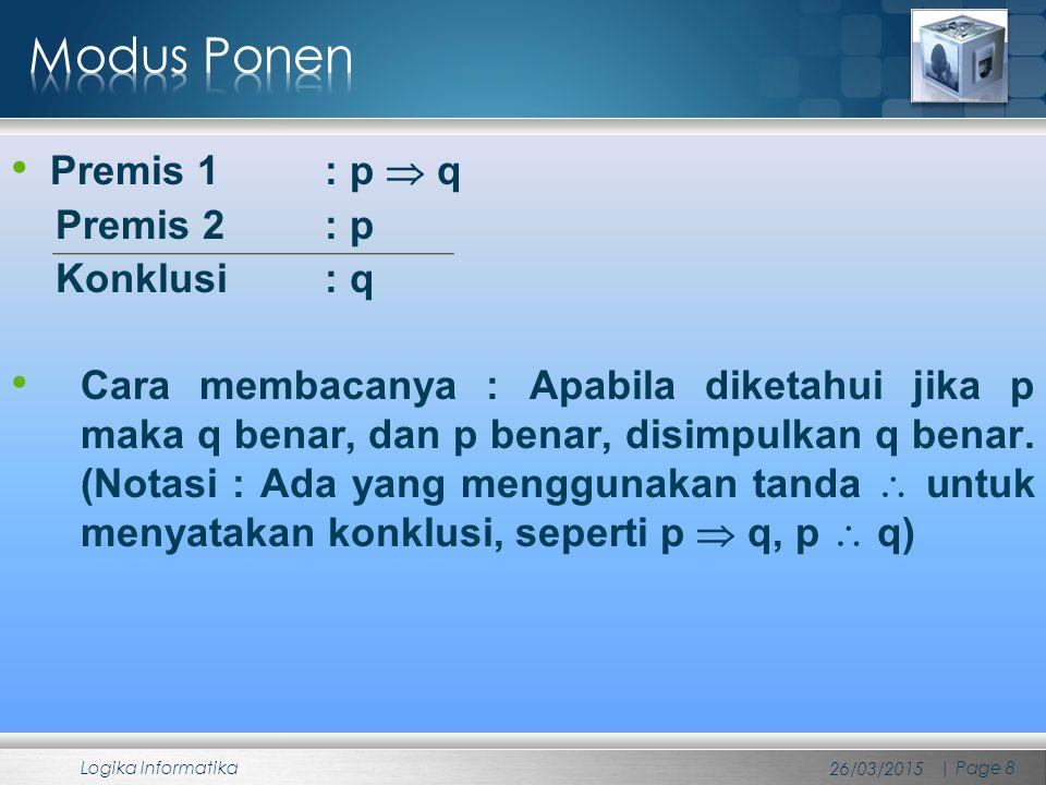 Premis 1 : p  q Premis 2 : p Konklusi : q Cara membacanya : Apabila diketahui jika p maka q benar, dan p benar, disimpulkan q benar. (Notasi : Ada ya
