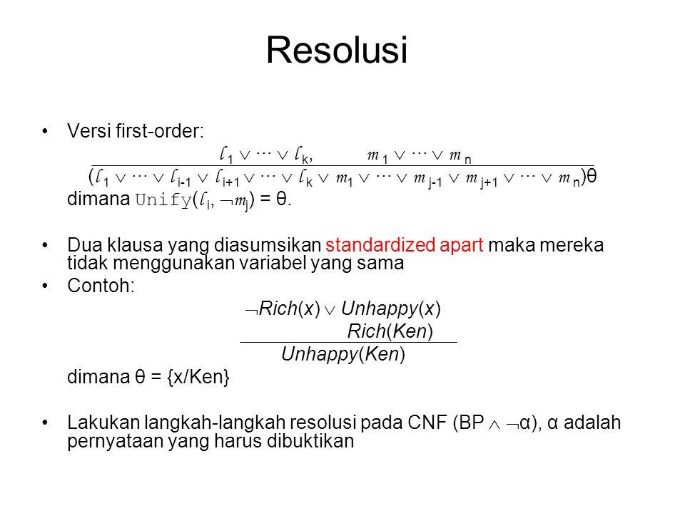 Resolusi Versi first-order: l 1  ···  l k, m 1  ···  m n ( l 1  ···  l i-1  l i+1  ···  l k  m 1  ···  m j-1  m j+1  ···  m n )θ dimana