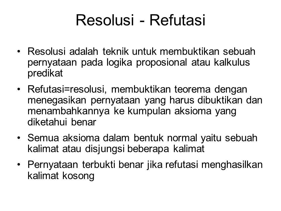 Resolusi - Refutasi Resolusi adalah teknik untuk membuktikan sebuah pernyataan pada logika proposional atau kalkulus predikat Refutasi=resolusi, membu