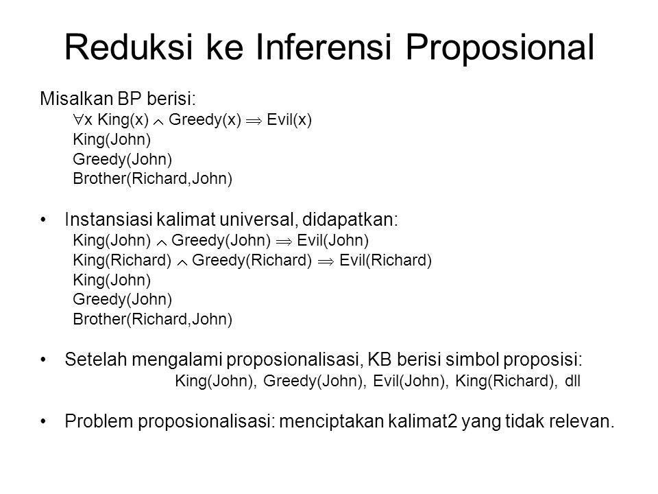 Reduksi ke Inferensi Proposional Misalkan BP berisi:  x King(x)  Greedy(x)  Evil(x) King(John) Greedy(John) Brother(Richard,John) Instansiasi kalim