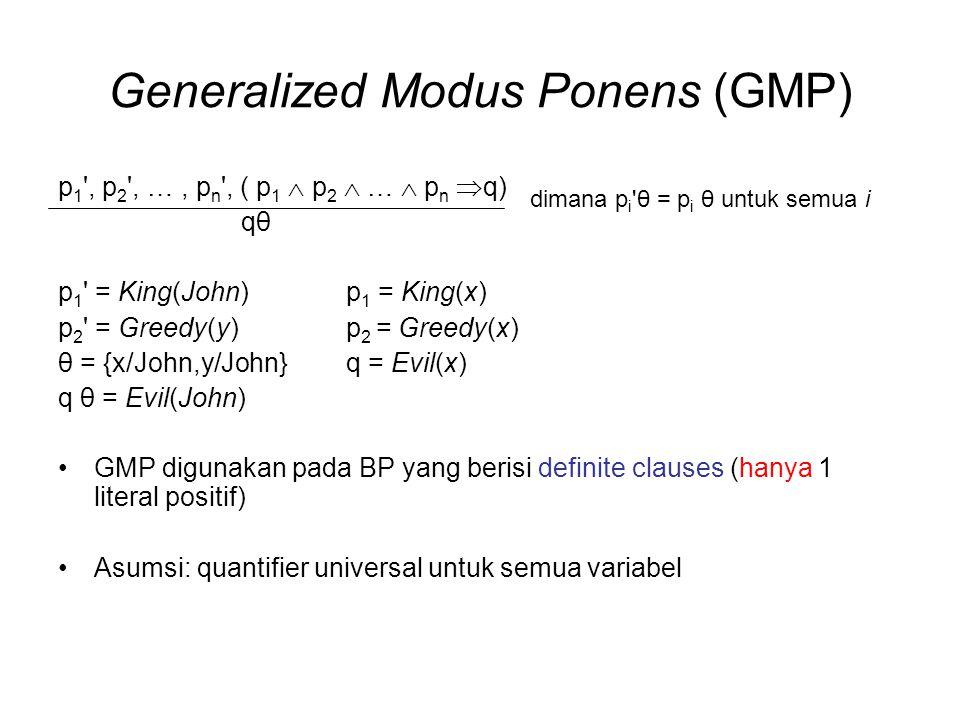 Generalized Modus Ponens (GMP) p 1 ', p 2 ', …, p n ', ( p 1  p 2  …  p n  q) qθ p 1 ' = King(John) p 1 = King(x) p 2 ' = Greedy(y) p 2 = Greedy(x