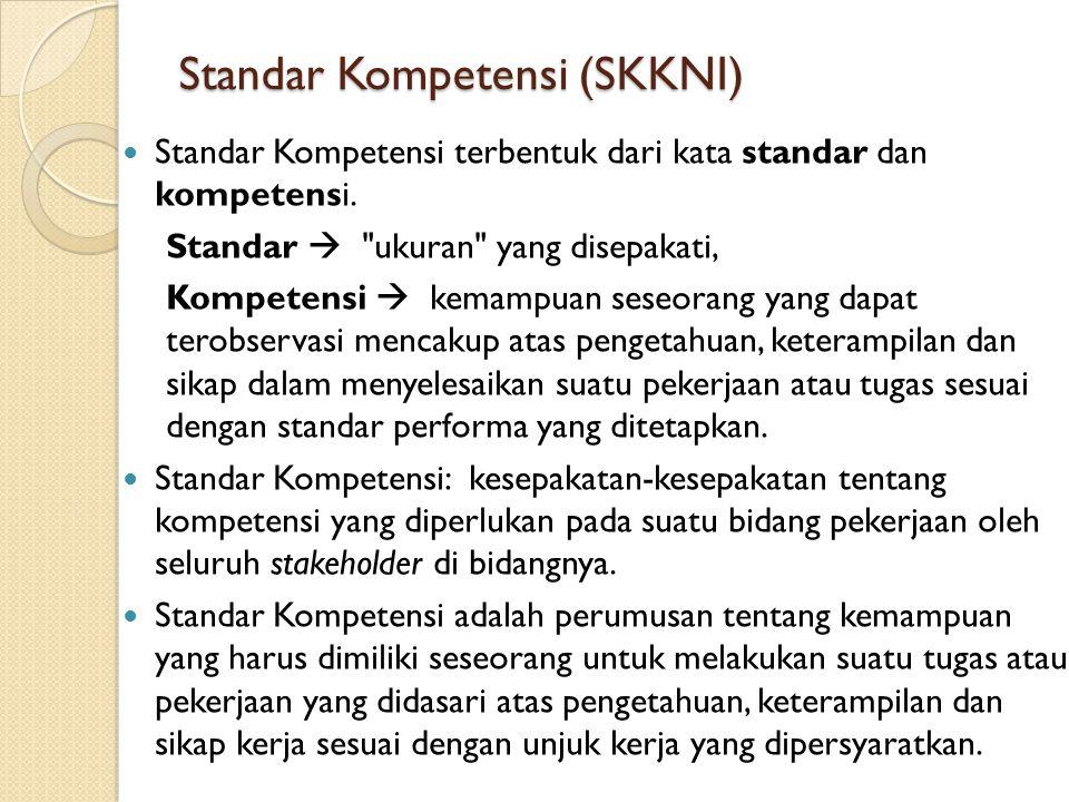 Standar Kompetensi (SKKNI) Standar Kompetensi terbentuk dari kata standar dan kompetensi. Standar 
