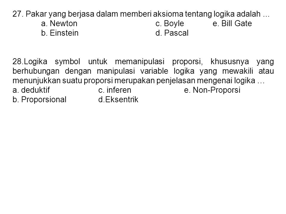 27. Pakar yang berjasa dalam memberi aksioma tentang logika adalah... a. Newtonc. Boylee. Bill Gate b. Einsteind. Pascal 28.Logika symbol untuk memani