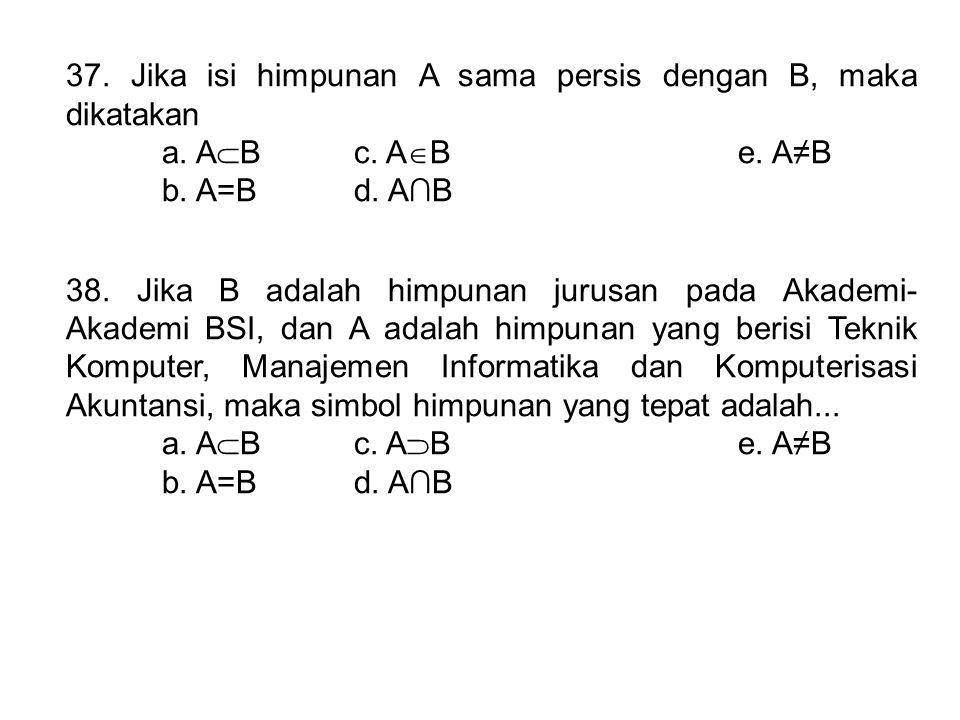 37. Jika isi himpunan A sama persis dengan B, maka dikatakan a. A  Bc. A  Be. A≠B b. A=Bd. A∩B 38. Jika B adalah himpunan jurusan pada Akademi- Akad