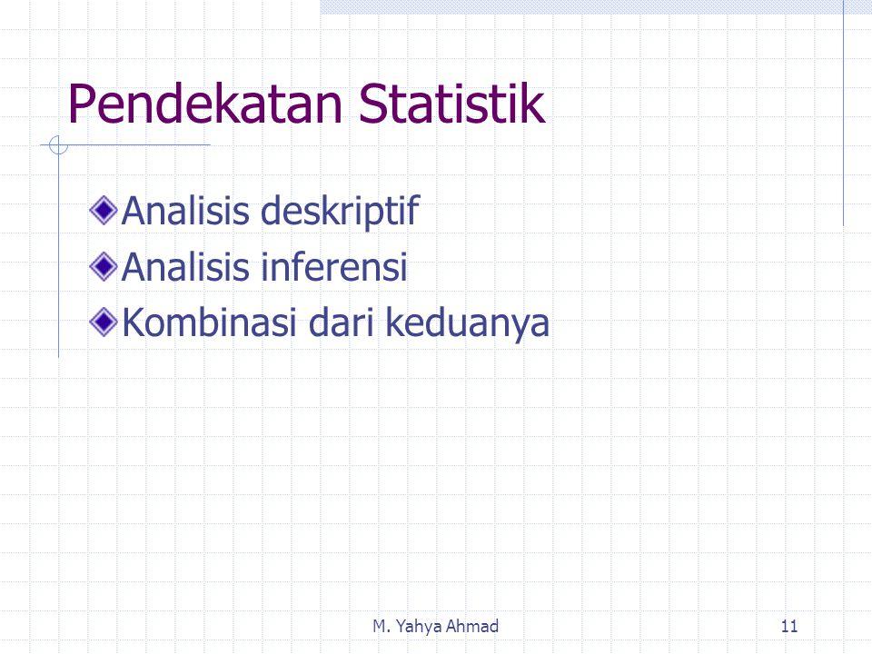 M. Yahya Ahmad11 Pendekatan Statistik Analisis deskriptif Analisis inferensi Kombinasi dari keduanya