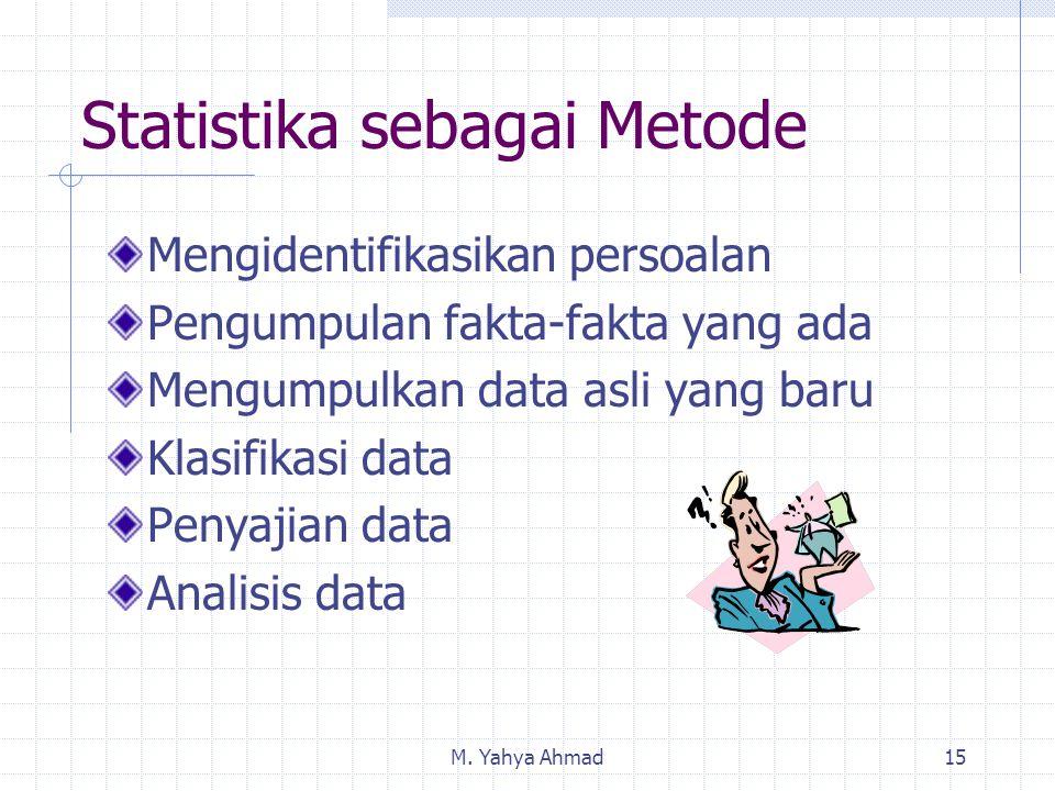 M. Yahya Ahmad15 Statistika sebagai Metode Mengidentifikasikan persoalan Pengumpulan fakta-fakta yang ada Mengumpulkan data asli yang baru Klasifikasi