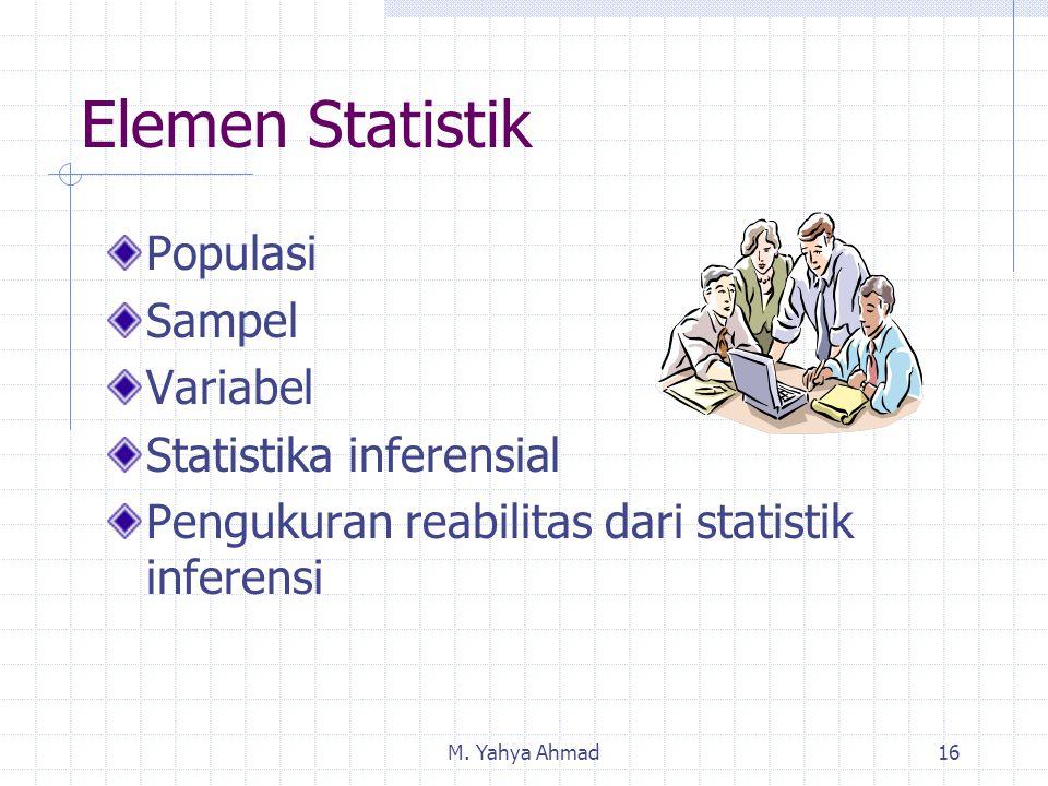M. Yahya Ahmad16 Elemen Statistik Populasi Sampel Variabel Statistika inferensial Pengukuran reabilitas dari statistik inferensi