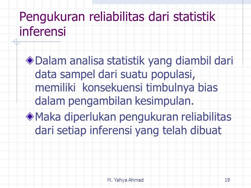 M. Yahya Ahmad19 Pengukuran reliabilitas dari statistik inferensi Dalam analisa statistik yang diambil dari data sampel dari suatu populasi, memiliki