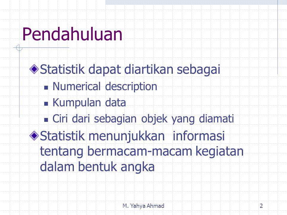 M. Yahya Ahmad2 Pendahuluan Statistik dapat diartikan sebagai Numerical description Kumpulan data Ciri dari sebagian objek yang diamati Statistik menu