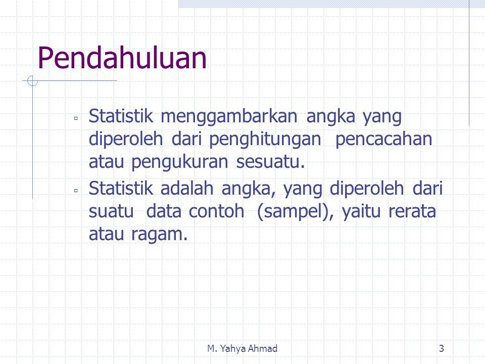 M. Yahya Ahmad3  Statistik menggambarkan angka yang diperoleh dari penghitungan pencacahan atau pengukuran sesuatu.  Statistik adalah angka, yang di