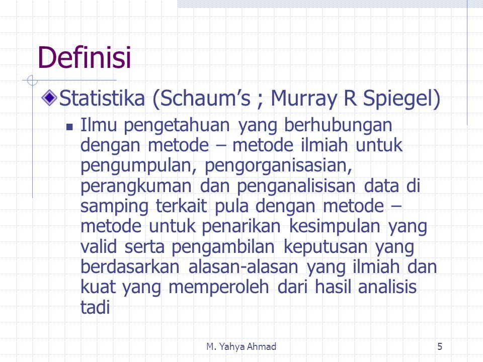 M. Yahya Ahmad5 Definisi Statistika (Schaum's ; Murray R Spiegel) Ilmu pengetahuan yang berhubungan dengan metode – metode ilmiah untuk pengumpulan, p