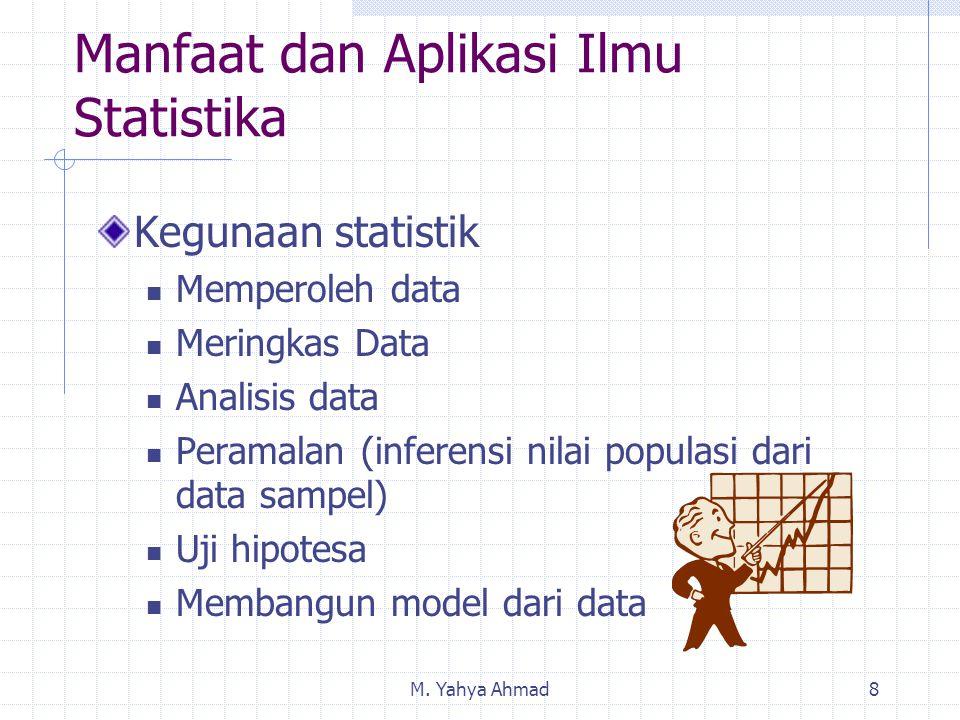 M. Yahya Ahmad8 Manfaat dan Aplikasi Ilmu Statistika Kegunaan statistik Memperoleh data Meringkas Data Analisis data Peramalan (inferensi nilai popula
