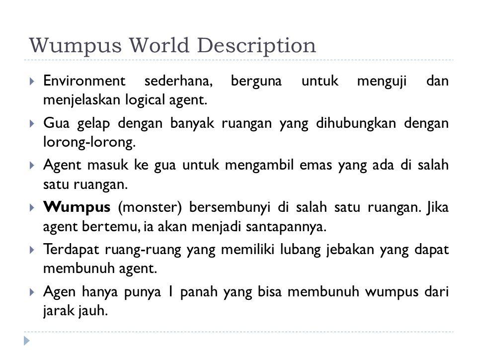 Wumpus World Description  Environment sederhana, berguna untuk menguji dan menjelaskan logical agent.  Gua gelap dengan banyak ruangan yang dihubung