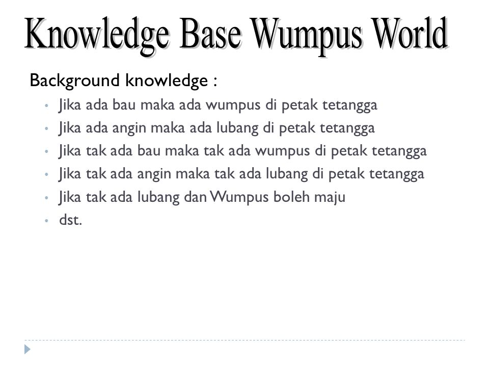 Background knowledge : Jika ada bau maka ada wumpus di petak tetangga Jika ada angin maka ada lubang di petak tetangga Jika tak ada bau maka tak ada w