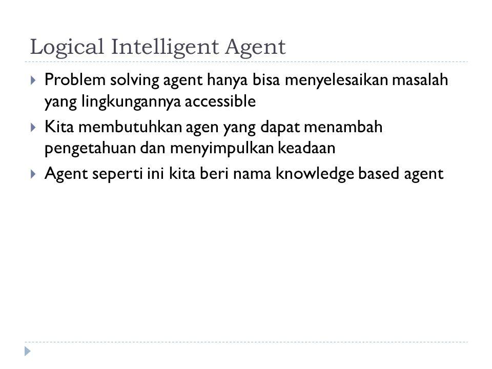 Logical Intelligent Agent  Problem solving agent hanya bisa menyelesaikan masalah yang lingkungannya accessible  Kita membutuhkan agen yang dapat me