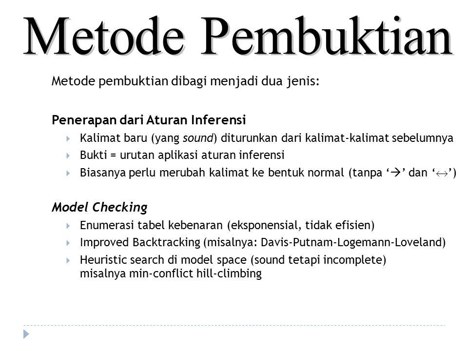Metode pembuktian dibagi menjadi dua jenis: Penerapan dari Aturan Inferensi  Kalimat baru (yang sound) diturunkan dari kalimat-kalimat sebelumnya  B