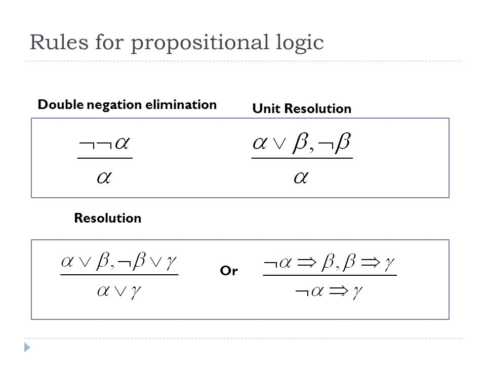 Rules for propositional logic Double negation elimination Unit Resolution Resolution Or