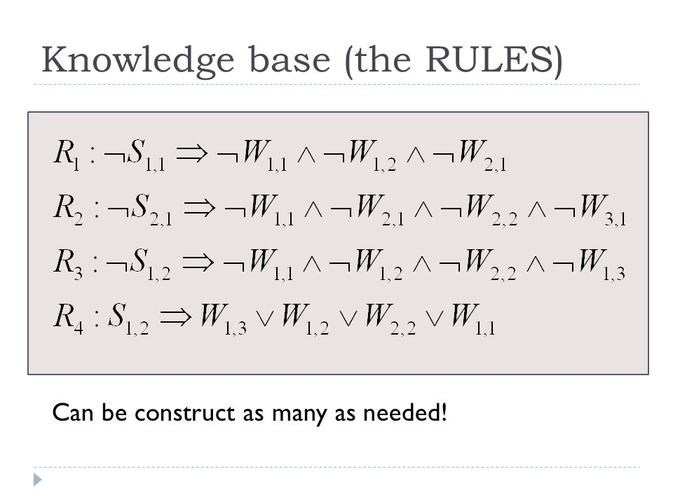 Knowledge base (the RULES) Can be construct as many as needed!