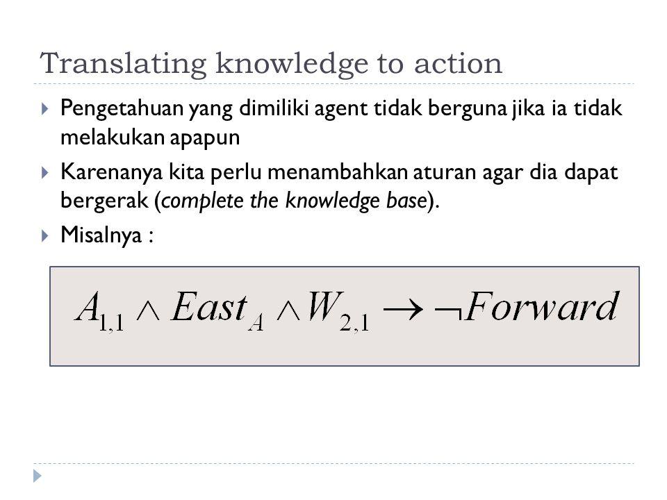 Translating knowledge to action  Pengetahuan yang dimiliki agent tidak berguna jika ia tidak melakukan apapun  Karenanya kita perlu menambahkan atur