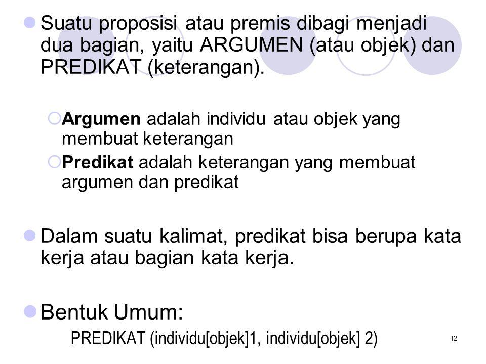 12 Suatu proposisi atau premis dibagi menjadi dua bagian, yaitu ARGUMEN (atau objek) dan PREDIKAT (keterangan).  Argumen adalah individu atau objek y